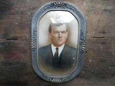 """Nice Vintage Antique 18.5"""" x 12.5"""" Bowfront Glass Wood Picture Frame"""