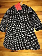 *NWT DEUX PAR DEUX* Girls Black & White Check Plush Lined Coat Bow Accents 18M