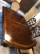 Great dining room set with 2 leafs and 6 chairs . Oak high quality furniture