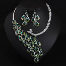 luxury Green gem peacock necklace earring bridal Choker Bib Crystal jewelry set
