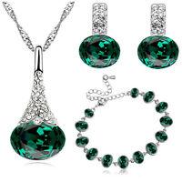 Dark Green, Crystal White or Blue Jewellery Set Stud Earrings Necklace Bracelet
