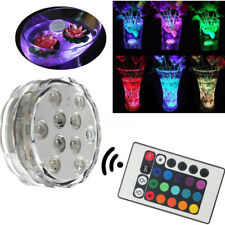 RGB Colorful 10 LED Submersible Vase Base Candle Light Lamp Waterproof +Remote