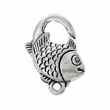 Sexy Sparkles 10 Pcs Lobster Clasp Fish Shape Antique Silver 20mm X 15mm