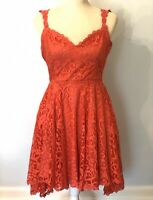 Emmelee Fit Flare Cocktail Dress Womens Size Medium Lace Open Back Coral Pink