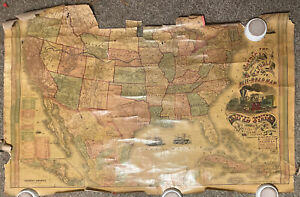 The American Republic Railroad Map Antique 1867 DISTRESSED 52X33 DAMAGED AS IS