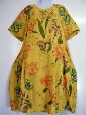 Lagenlook 100% Cotton LongTop/Dress Short Sleeve Pockets 4 Colours OneSize 16-20