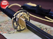 HANDMADE JAPANESE SAMURAI KATANA SWORD DAMASCUS FOLDED STEEL BLADE DRAGON TSUBA