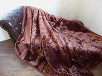 Luxus Tagesdecke Kuscheldecke Wohndecke Decke Plaid dunkel braun 160x200cm