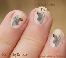 Chinese Crested Profile,   24 Unique Designer Dog Nail Art Stickers Decals