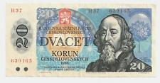 1988 Bank or Czechoslovakia 20 Korun Bank Note