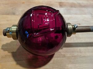 Fenton Ruby red Glass Lightning Rod Ball Globe with brass end cap COLLECTABLE