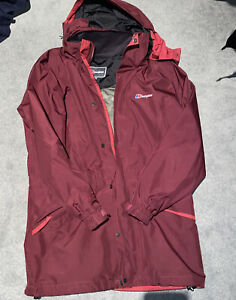 Women's Berghaus Burgundy Coat Jacket GoreTex Hooded Waterproof Size UK 14