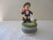 "Vintage Ceramic Little Boy Petting A Duck Music Box "" GREAT COLLECTABLE PIECE """
