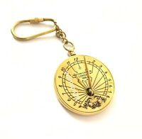 Solid Brass Nautical  Steampunk Keychain - Pocket Sundial Keychain