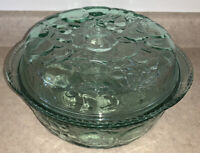 "Libbey Clear Green Orchard Fruit 10"" X 5 1/2"" Casserole Dish with PIE PLATE LID"