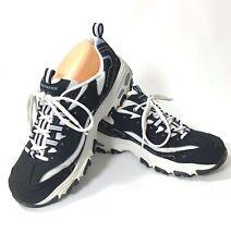 Skechers D'lites Women's size 11 Blue Memory Foam Laced Leather Sneakers Shoes