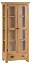 HEREFORD MODERN OAK TALL GLAZED DISPLAY CABINET / GLASS DOORS / 1.8M TALL