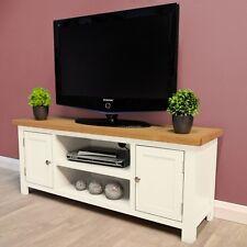 Belgravia White Painted Large Oak TV Unit / Plasma / Solid Wood / TV Stand / New