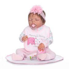 22'' Full Silicone Reborn Baby Doll Vinyl Sleeping Newborn Girl Handmade Life
