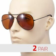 Aviator Sunglasses Driver Night Vision Driving Glasses Amber Lens Anti Glare X