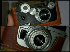 2 vintage Argus cameras in boxes, A4 and C3, 1950's film cameras, with flash