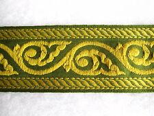 Verde & TELA DORADA BORDE 7cm Ancho - 1.7mts Material Adorno Trenzado Ribete