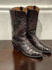 LUCCHESE CLASSICS NICE EXOTIC FULL QUILL OSTRICH 9D HANDMADE MENS COWBOY BOOTS