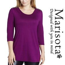 Marisota Jersey Tunic Top Silver MAGENTA Bead Embellished Shoulder - Plus Size