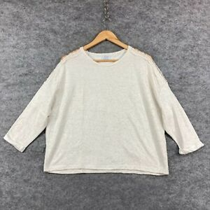 Zara Womens Shirt Top Size S Small Cream White 3/4 Sleeve Box Fit 309.04