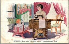 Postcard The Free Sewing Machine MOTHER Baby Cradle Advertising RARE Q4
