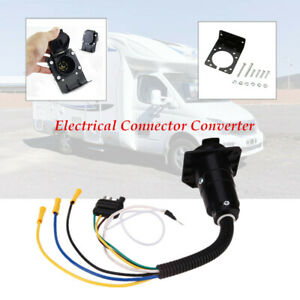 Trailer Plug 4-Way to7 Way RV Blade Wiring Adapter Plug Hitch W/ Bracket Durable