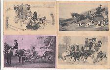 Lot 4 cartes postales anciennes FANTAISIES attelage calèche