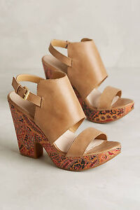 Anthropologie Open Toe Wedge Sandals Naya Misty Print Summer Shooties, Size 7