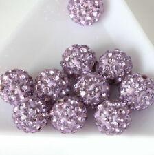 20pcs 10mm Light Purple Nice Ball Rhinestones Loose Spacer Beads Jewelry