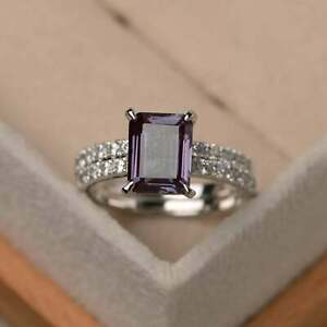 2Ct Emerald Cut Alexandrite Bridal Solitaire Engagement Ring 14K White Gold Over