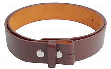Brown Plain Solid Leather Belt NO BUCKLE Many Colors New Men Women S M L XL