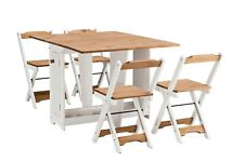 Ellingham Folding Drop Leaf Butterfly Dining Set With 4 Chairs Pine & White