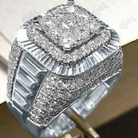 14K White Gold Over 3.50 Carat Round Cut Diamond Men's Wedding Pinky Band Ring