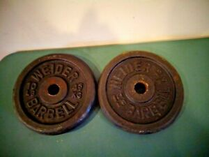 """2 VINTAGE WEIDER 10 LB BARBELL WEIGHT PLATES STANDARD 1"""" HOLE 20 POUNDS TOTAL"""