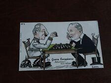 ORIGINAL NINOUVIS SIGNED WWI POLITICAL PROPOGANDA POSTCARD - CHESS, EUROPEAN WAR