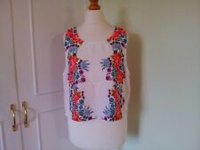 New MINKPINK Ladies Sleeveless White Multi Floral Cropped Tunic Top Size 12/14 L