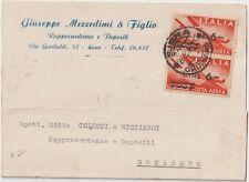 ITALIA 1948 COPPIA 6L/20L LETTERA COMMERCIALE DA SIENA PER GROSSETO