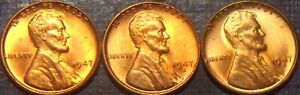 SCARCE 1947-P,D,S LINCOLN CENT RD & RB/BU,MS FULL WHEAT LINES+ SUPERB QUALITY!!