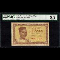 Mali Banque de la Republique 100 Francs 1960 PMG 25 Very Fine P-2