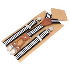 Kids Elastic Suspenders Body Trousers Strap Leather Braces Harness Metal Buckles