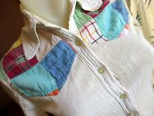 SMALL True Vtg 70s COTTON STRETCH COLLARED PATCHWORK HIPPY BOHO SS Top Womens