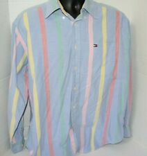 Vintage Tommy Hilfiger Long Sleeve Button Shirt Pastel Vertical Stripes Large L