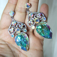Chandelier Earrings Rhinestone Bridal Prom Pageant Austrian Crystal AB 2.8 inch