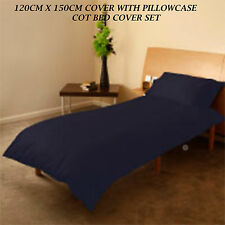 LUXURIOUS BRAND NEW BABY COT BED DUVET COVER SET NAVY BLUE 120CM X 150CM