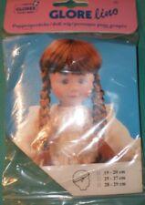"""Dark brown Glorex doll wig with braids, 7,5"""" to 8"""" / 19 - 20 cm"""